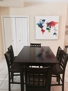 (PPU) Pub table set - Bar with 6 chairs and extendable leaf