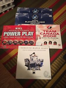 Five NHL/Leaf/Team Canada pin/sticker albums