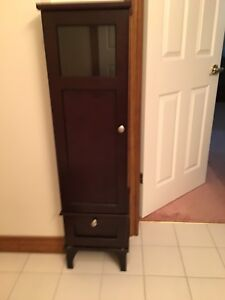 Tall Black/Brown Display Cabinet