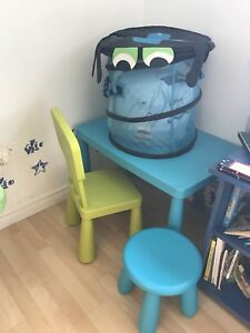 Reduced ->IKEA Mammot table, chair and stool, storage