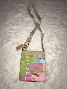 Multi coloured Coach crossbody purse.
