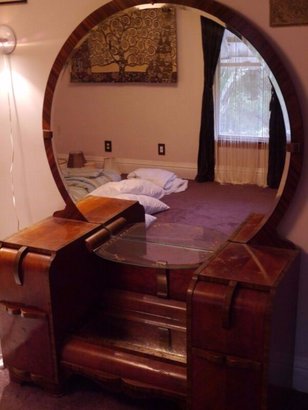 Antique Vanity Dresser Round Mirror Art Deco Hand Painted Gold Paint Wood Chest