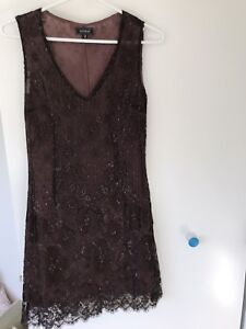 Kookai Chocolate Brown Lace Dress Size 2 which is a Medium