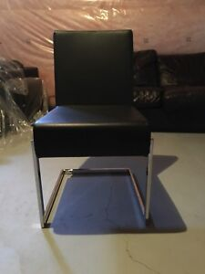 Black Leather Chairs with Metal Legs BRAND NEW