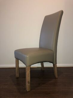 6 x Leather dining chairs - latte colour - excellent condition