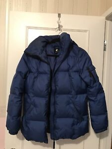 Blue winter jacket with attached hood