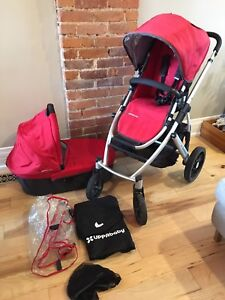 Excellent cond 2014 uppababy vista stroller 'Denny' red