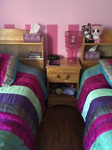 Solid Wood Twin Bedroom Set With Two Desks and Chaurs