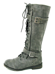 WOMANS LACE UP ARMY BIKER KNEE HIGH BLACK LADIES MILITARY BOOTS SIZE 3 4 5 6 7 8