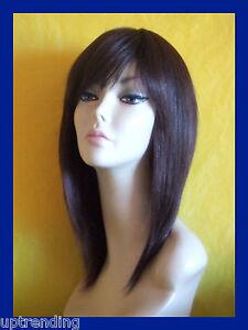 100% REAL HUMAN HAIR LADY WIG SMOOTH LAYER SKIN TOP DARK BROWN 4# PLATINUM
