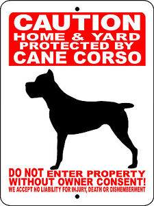 CANE-CORSO-Guard-Dog-Aluminum-Sign-Vinyl-Decal-12-x-9-VINYL-GRAPHICS-2496HYCC