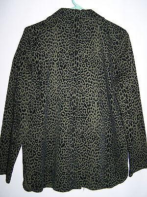 Womens BRAETON Army Green Black Animal Print Button Down Shirt Size M