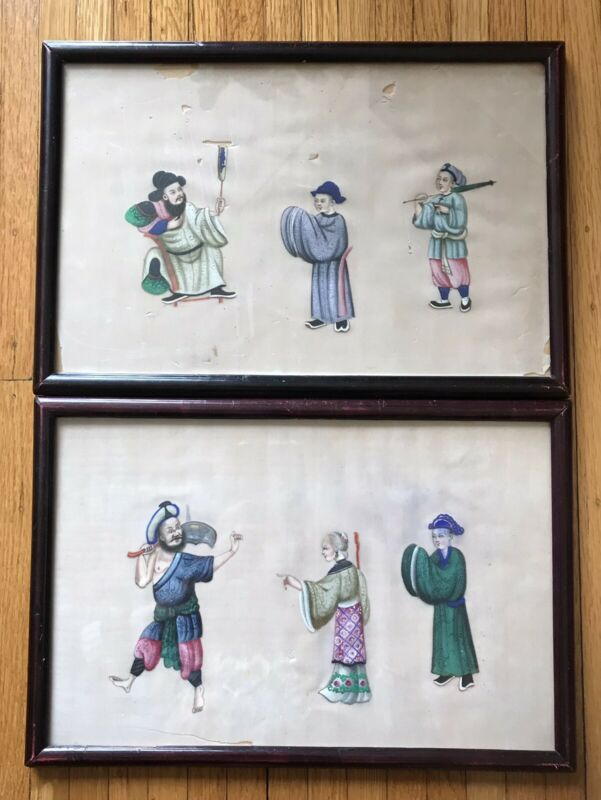 Two Antique Chinese Framed Pith Rice Paper Paintings