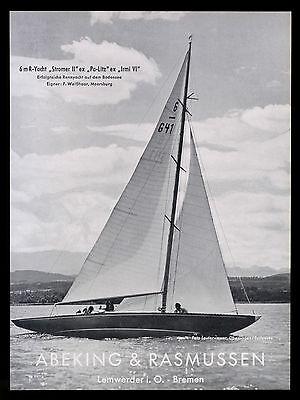 Grosse Werbung 1958 6m-Yacht Stromer II Werft Abeking & Rasmussen Bremen