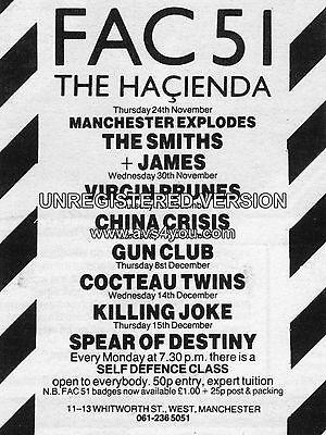 "The Smiths / James Hacienda 16"" x 12"" Photo Repro Concert Poster"