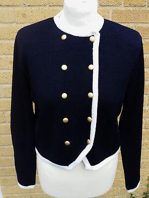 Vintage1980's St Michael M&S Women's Cardigan- Double Buttons Navy Blue Size 12
