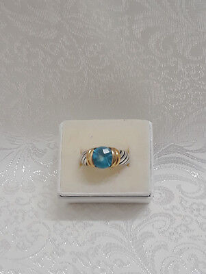 TOPAZ COLOR STONE FASHION RING - ART CARVED SETTING - SIZE 7