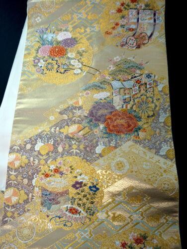 "Japanese Kimono SILK Fukuro OBI, Rokutu ,Gold thread/leaf,Coach,Pine,L173""..1975"