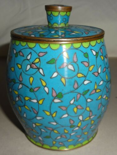 """1880-90 CHINESE fine CLOISONNE small ENTWINED VINE 3 1/2"""" TEA JAR with LID- MINT"""