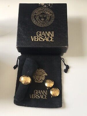 Authentic Gianni Versace Medusa Earring and Ring Set with Box Used
