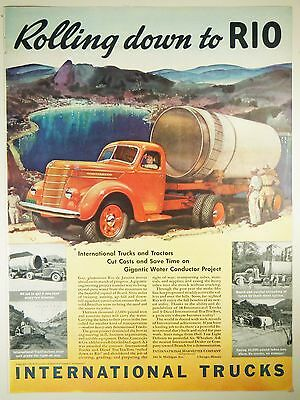 Vintage 1940 INTERNATIONAL HARVESTER TRUCKS Lg Magazine Print Ad: RIO DE JANEIRO
