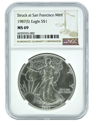 1987 Struck At San Francisco Silver Eagle NGC MS69 - Brown Label