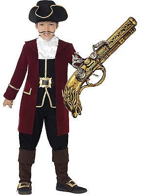 Smiffys Deluxe Pirate Captain Hook Boys Kids Child Fancy Dress Costume + GUN - Deluxe Captain Hook Costume