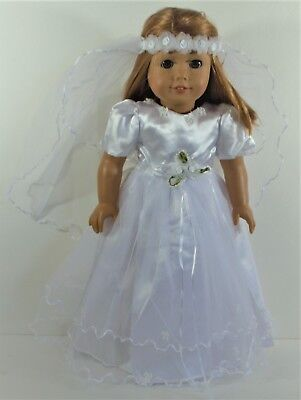 First Communion Dress Veil For 18 inch American Girl Doll Other Dolls