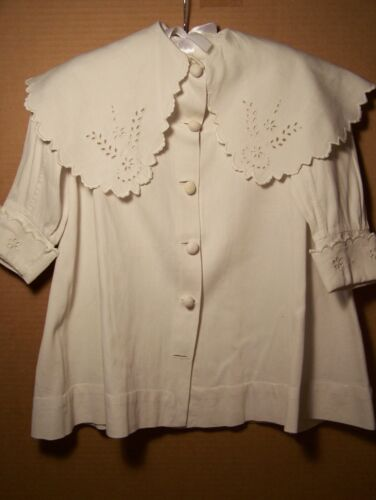 Antique child white cotton coat with embroidered collar