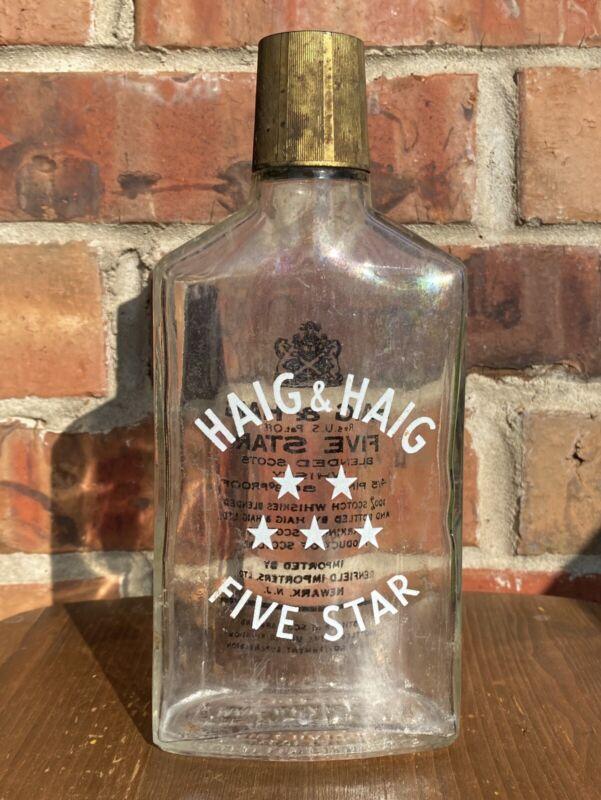 Vtg Haig & Haig Five Star Whisky Bottle - Product Of Scotland - Empty W/ Top