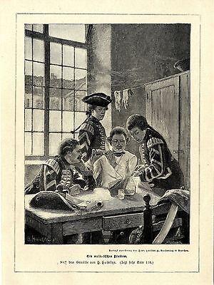 H.Huisken ( Ein musikalisches Problem ) Militärmusiker Graphik von 1897