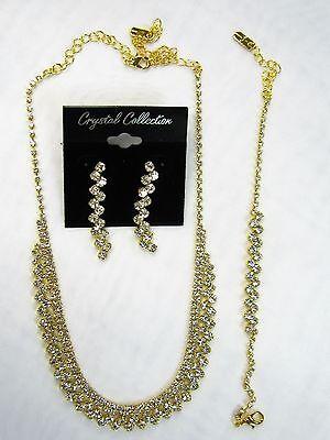 Gold Rhinestone Crystal Necklace Bracelet Earrings Set Bridal Jewelry # 26808