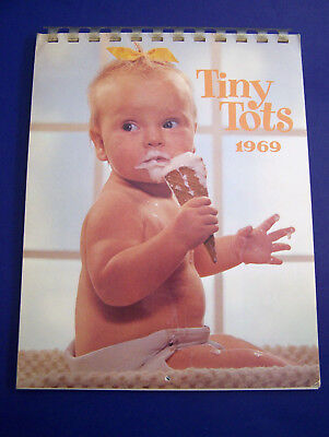 RARE 1969 Hallmark TINY TOTS Full Sz CALENDAR Sweet Babies Photographs CLEAN HTF