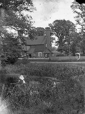 RUISLIP Tudor Style House Antique Photographic Glass Negative (1910s Middlesex)