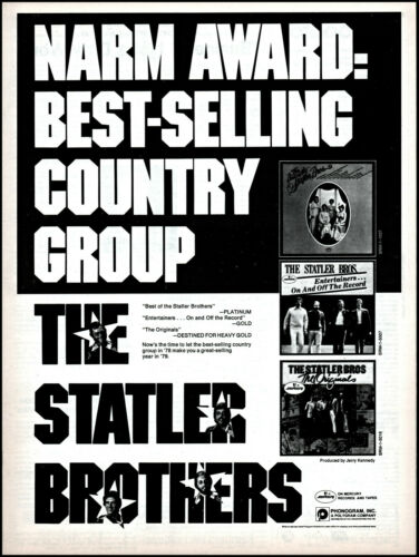1979 The Statler Brothers NARM Award Best Country Group retro photo print ad  XL