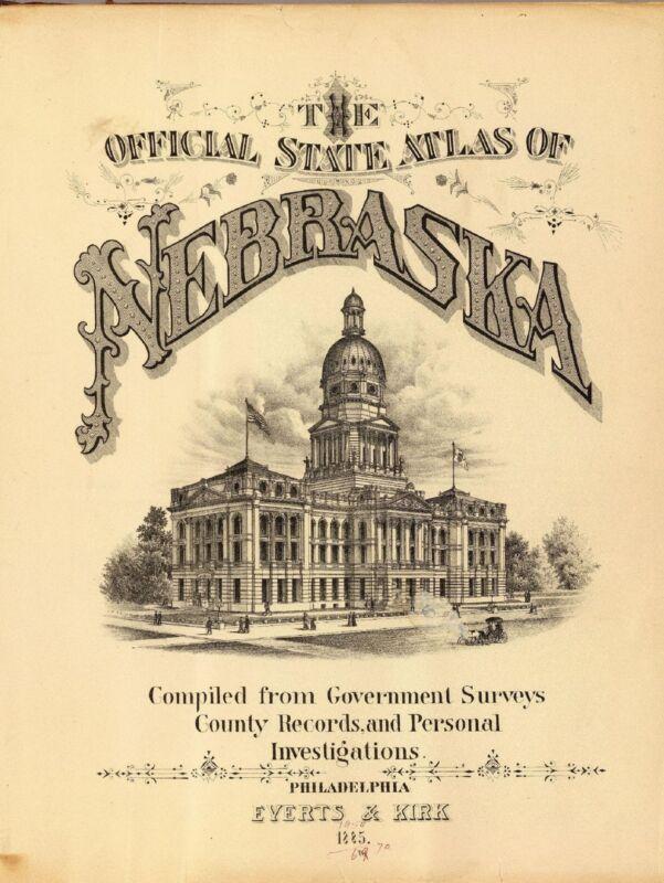 1885 NEBRASKA STATE ATLAS maps old GENEALOGY DVD S19