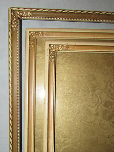 Lot of 3 Cream & Gold Vintage Wood Picture Frames Flowers Art Deco