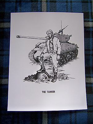 US Army Sherman Tank Print The Tanker 8.5 by 11 Military Armor Cavalry Soldier