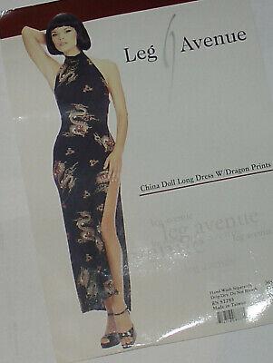Geisha Doll Costume (Leg Avenue Sexy China Doll Geisha Long Dragon Print Spandex Dress costume NWT!)