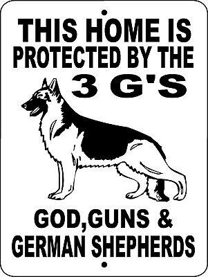 German Shepherd Dog Sign No Trespassing Warning Gate Vinyl Aluminum 3Gs