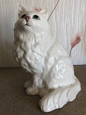 """BESWICK PERSIAN CAT WHITE GLOSS MODEL  No 1867 VERY LARGE SIZE 8.5"""" PERFECT"""