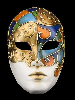 Mask Venice face volto blue green golden paper mash V53-1981