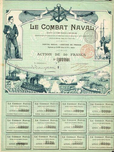 FRANCE NAVAL COMBAT stock certificate/bond BEAUTY 1899 RARE