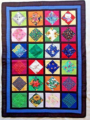 """* Lovely Handmade Patchwork Flannel Backed Quilt 47"""" X 34.5"""""""