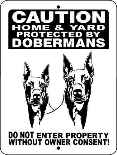"""0182 Doberman Pinscher 12""""x18"""" Aluminum Sign"""