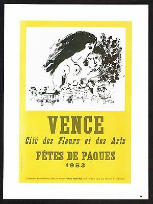 1980s Vintage Marc Chagall Vence Fetes De Paques 1953 Poster Art Print
