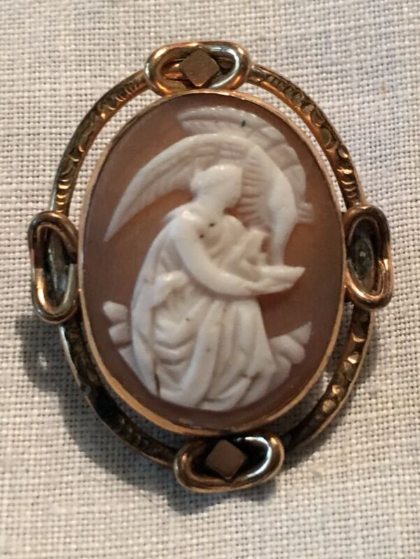 Antique Shell Cameo Goddess Lady Eagle Brooch Rose Gold Classical Victorian Pin