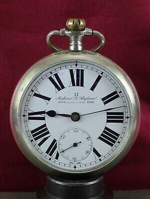 Antique OMEGA Railroad 20 Lignes Open Face 55mm Pocket Watch. Ca 1912