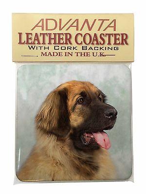 Blonde Leonberger Dog Single Leather Photo Coaster Animal Breed Gift, AD-LE1SC