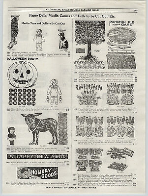 1919 PAPER AD Halloween Party Game Paper Dolls Polly Dolly Dimple OZ Toy Book - Halloween Paper Dolls